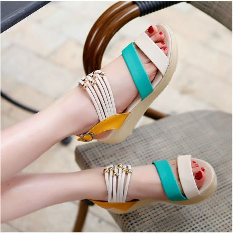 Korean Version Flat Sandals Bohemian Style - Green Women's Footwear- Available online on Buyvel