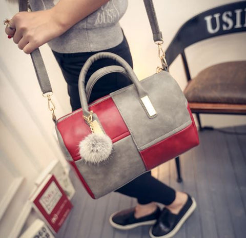 Classy n Cute Grey Red Puff Bag Handbags- Available online on Buyvel