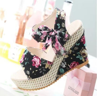 Floral Korean Wedges Women's Footwear- Available online on Buyvel