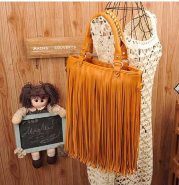 Boho Fringed Sling Yellow