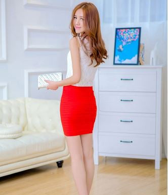 Stretchable Mini Skirt cum Tube Top - Red Shorts & skirts- Available online on Buyvel