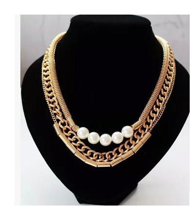 Euro Americana three layered Pearl Neck Piece Necklace & Pendants- Available online on Buyvel
