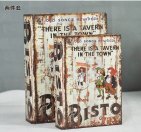 Bisto Upscale vintage leather false book decorative item. Set of 2 Home Decor- Buyvel
