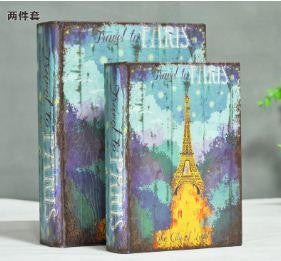 Eiffel tower Upscale vintage leather book false book decorative item for living room. Set of 2 - Buyvel