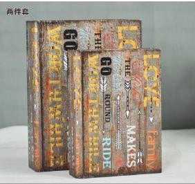 Love Family Upscale vintage leather book false book decorative item for living room. Set of 2