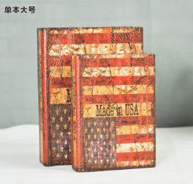 USA Upscale vintage leather book false book decorative item for living room. Set of 2 Home Decor- Buyvel