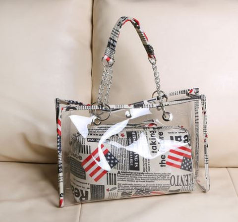 Transparent American Tote Flag Bag with Pouch Handbags- Buyvel