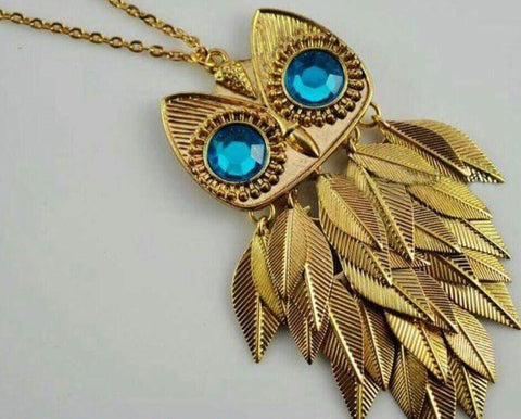 Owl Pendant Long Chain with Antiqued Bronze & Leaf Head2Toe- Buyvel