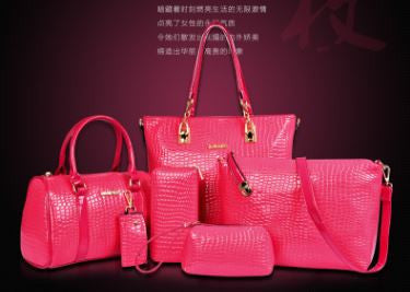 Elegant Stylish Crocodile Pattern Set Of 6 Bags Pink Set Bags- Available online on Buyvel