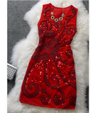 Fashion Diva's Sequinned Party Dress Red Dresses- Available online on Buyvel