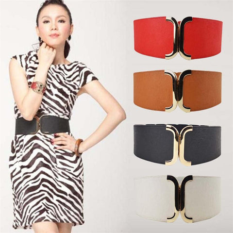 Wide Belt Elastic Cummerbund Strap Dress Accessories Women's Belts- Available online on Buyvel