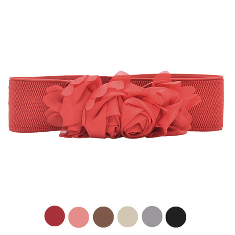 Elastic Waistband Chiffon Roses Belt Women's Belts- Available online on Buyvel
