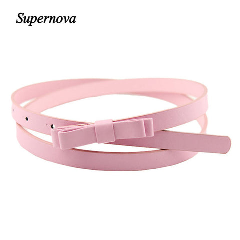 New Candy Thin Pu Leather Casual Belt Cummerbund For Girl Women's Belts- Available online on Buyvel