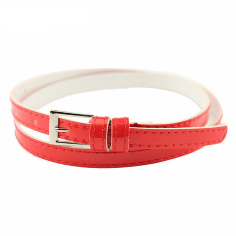Beautiful Woman Multicolor Small Candy Color Thin Leather Belt