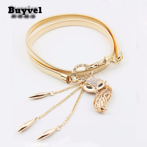 Animal Pendants elastic Metal Golden belt women 2017 Women's Belts- Available online on Buyvel
