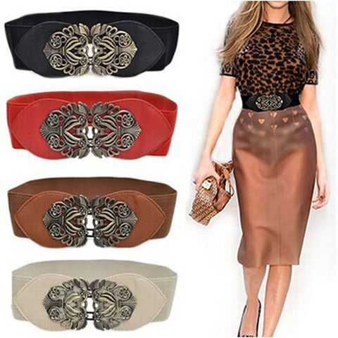 Women Fashion Vintage Wide Elastic Stretch Buckle Waist Belt Waistband Women's Belts- Available online on Buyvel