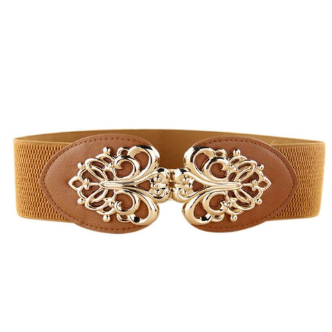 Alloy Flower Vintage Leather Belt Straps For Women Women's Belts- Available online on Buyvel