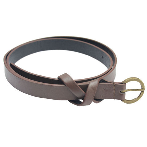 Fashion Women's Belt Narrow Skinny Low Waist Thin Leather Loop Bow Belt Women's Belts- Available online on Buyvel