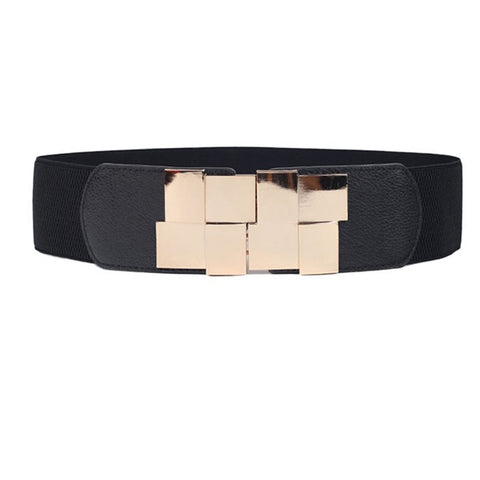 Wide Stretch Elastic Wide Metal Buckle Belt Dress Accessories Women's Belts- Available online on Buyvel