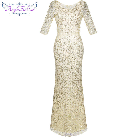 Half Sleeves Sequined Mermaid Long Evening Dress Dresses- Available online on Buyvel