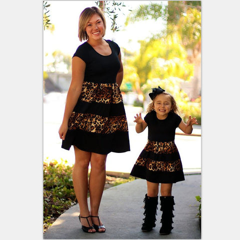 Leopard Fashion mommy and me dress