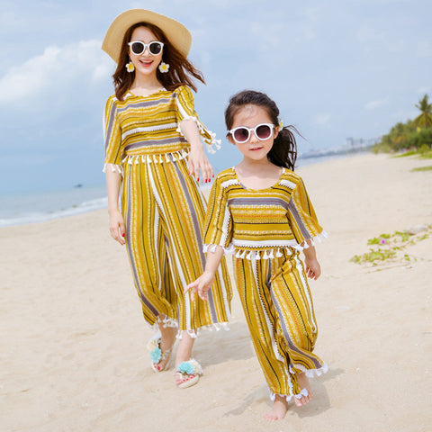 Mother and daughter clothes T-shirt+pants 2Pcs Suit