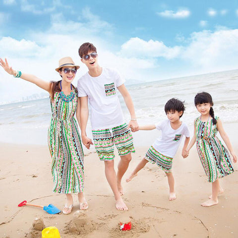 Family Matching Clothes Summer Cotton T shirt and Short Set