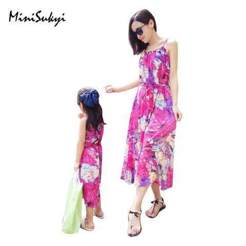 Mother Daughter Sleeveless Fashion Floral Dress