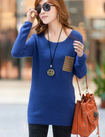 Plain Color Pocket Sweater BLUE Winter Wear- Available online on Buyvel