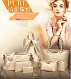 New 2016 PU Leather Vintage Women Fashion Trendy Cross body  Handbag Set Of 7 White Set Bags- Available online on Buyvel