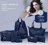 New 2016 PU Leather Vintage Women Fashion Trendy Cross body  Handbag Set Of 7 Navy Blue Set Bags- Available online on Buyvel