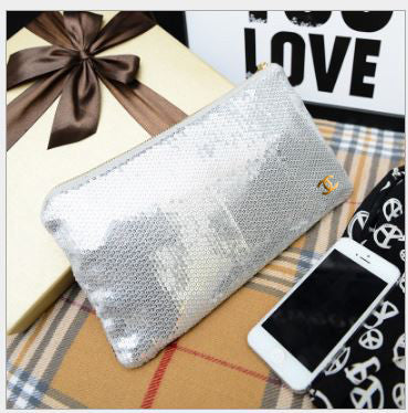 Glitter/ Sequinned Pouches Silver Wallets & Clutches- Buyvel