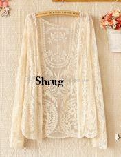Long Summer Embroidery Designer Net Shrug Shrugs & Summer Jackets- Available online on Buyvel