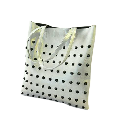 Rivet TOTE Shoulder & Hand Bag Silver Creative Bags- Available online on Buyvel