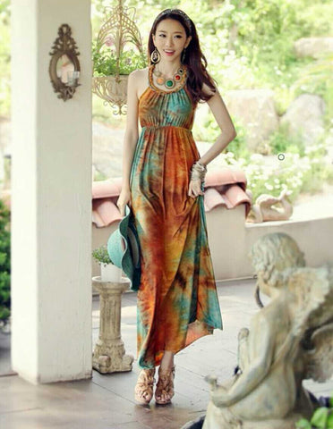 Adorbs BOHO Long Brown Textured Soft Gown - Buyvel