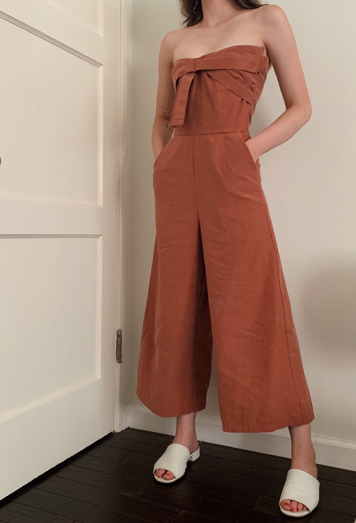 Women's rose bow-tie jumpsuit