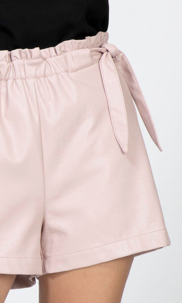 pink vegan leather shorts