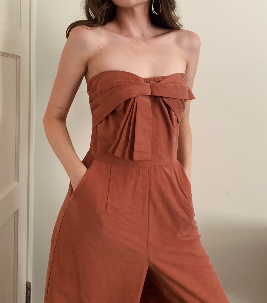 women's rose strapless jumpsuit