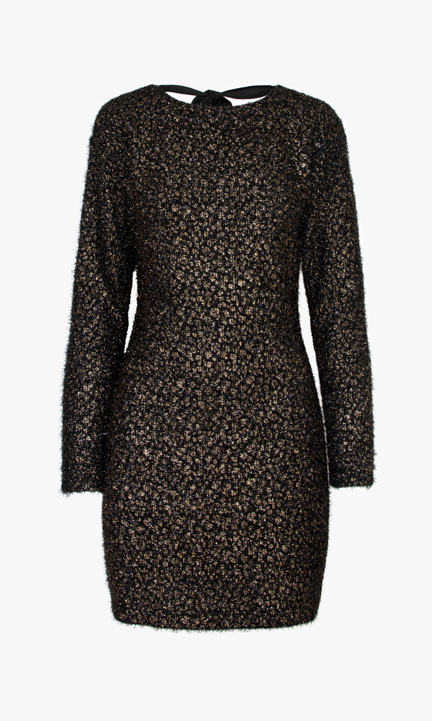 Metallic Yarn Leopard Print Dress