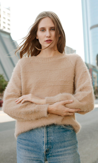 Tan beige fuzzy knit pullover sweater