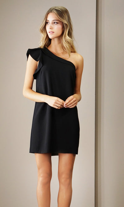 Vero One Shoulder Ruffle Dress