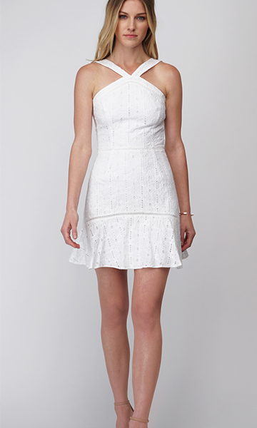 Dylan Embroidered Halter Dress