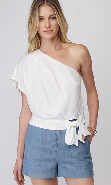 white one shoulder blouse