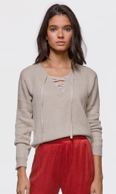 Jessa Laced-Up Front Pullover
