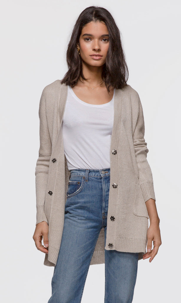 Women's beige knit relaxed cardigan