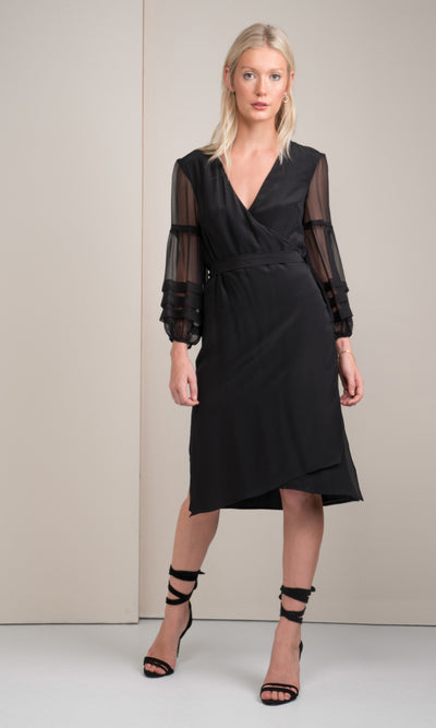 black silk kimono sheet mix dress
