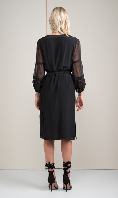 Kenzie Silk Kimono Sheer Mix Dress