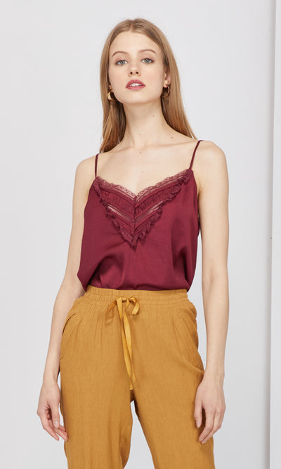 wine lace trim cami