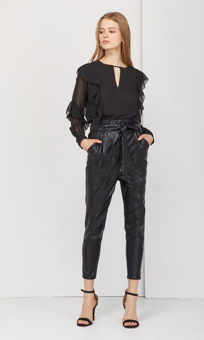 black vegan leather belted pants