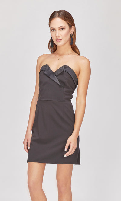 black strapless tuxedo dress